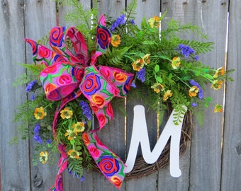 Front Door Wreath, Door Wreath, Spring Wreath, Sunflower Wreath, Spring and Summer Wreath, Monogram Wreath, Burlap Bow, Burlap Wreath