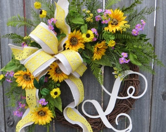 Spring Wreath, Spring Wreath with Monogram, Summer Wildflower Wreath, Spring Wreath, Yellow Wreath, Wreath, Houswarming