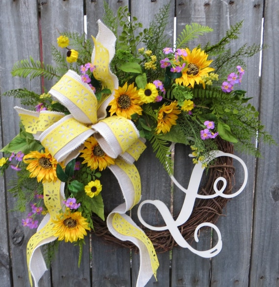Spring Wreath, Spring Wreath with Monogram, Summer Wildflower Wreath, Spring Wreath, Yellow Wreath, Wreath, Houswarming