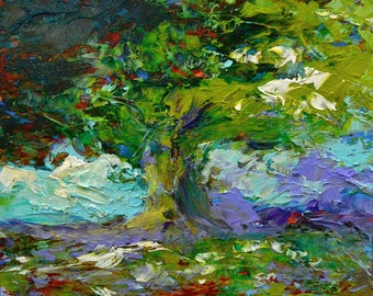 """Fine Art Giclee Print """"Oak Abstract"""" From Original Tree Painting by Claire McElveen Signed"""