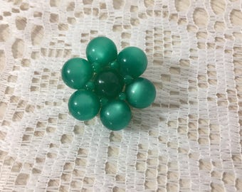 Beautiful Teal Moonglow  Lucite Brooch ~ Authentic Vintage Moonglow Lucite Jewelry At Hope Knows Vintage