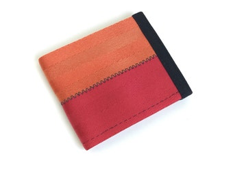 Vegan wallet in red and orange seat belt webbing