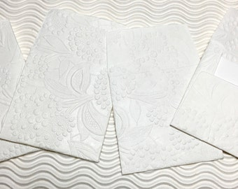 4 teeny tiny envelopes miniature mini note sets square white embossed stationery handmade paper party favor weddings guest book table number