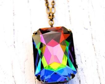 SALE RARE Rainbow Vintage Pendant Necklace Swarovski Crystal Necklace Large Crystal Necklace Mashugana