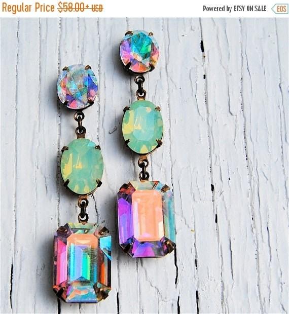 SALE Aurora Borealis Pacific Opal Vintage Swarovski Earrings Nautical Earrings Rhinestone Earrings Mashugana