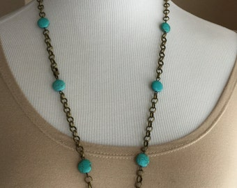 One of a kind antique brass chain and turquoise beads long necklace