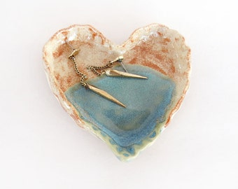 Jewelry Dish. Aqua. Heart Ceramic Ring Dish. Rustic. Heart Shaped. Valentine's Day. Soap Dish.