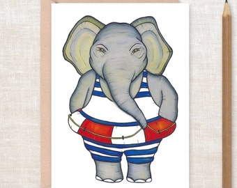 ELEPHANT Card - Thanks a Ton! - Thank you card, baby shower, best friend, life saver, best wishes, Greeting Card