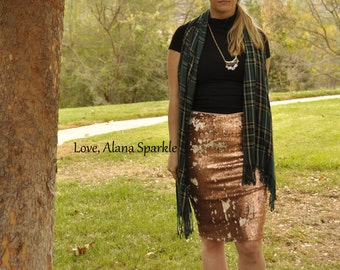 NEW! Brown Pencil Sequin Skirt - Stretchy, beautiful knee length skirt (S,M,L,XL) Made in LA!