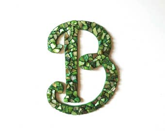 Green Sea Shell Alphabet Letters, wall decor, wall initial