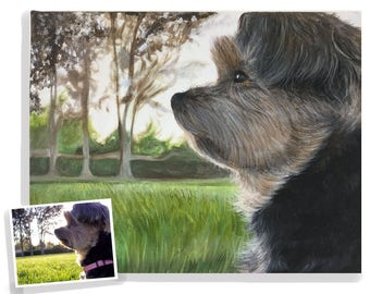 yorkshire terrier painting dog art from photo custom pet portrait on canvas hand painted 11x14