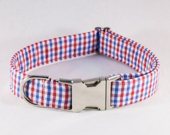 Preppy Classic Red White and Blue Gingham Dog Collar, Ole Miss Rebels