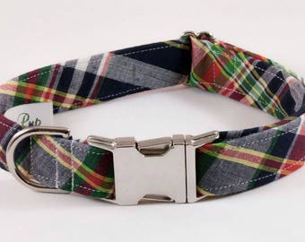 Preppy Montauk Madras Dog Collar