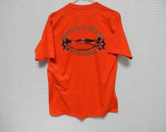 vintage Orcas Island Orange T Shirt Mens L San Juan Islands Washington tourist tee West Beach Resort sunset tee 50/50 thin Orca whales 80s