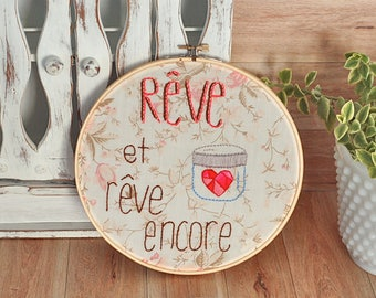 Romantic Wall art  quote embroidery hoop inspirational quote  heart hand embroidered hoop wall frame eco friendly  vintage 8 inches hoop