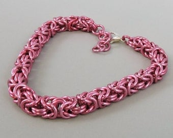 Chainmail Bracelet, Chainmaille Pink Byzantine, Chainmaille Bracelet, Byzantine Bracelet, Chain Mail Jewelry