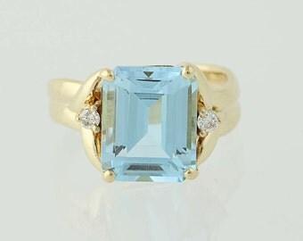 Blue Topaz & Diamond Ring - 14k Yellow Gold Women's 8.08ctw N4203