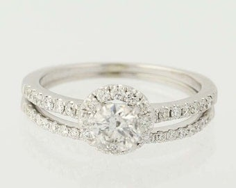Diamond Halo Engagement Ring & Wedding Band - 14k White Gold Round Cut .79ctw Unique Engagement Ring N6545