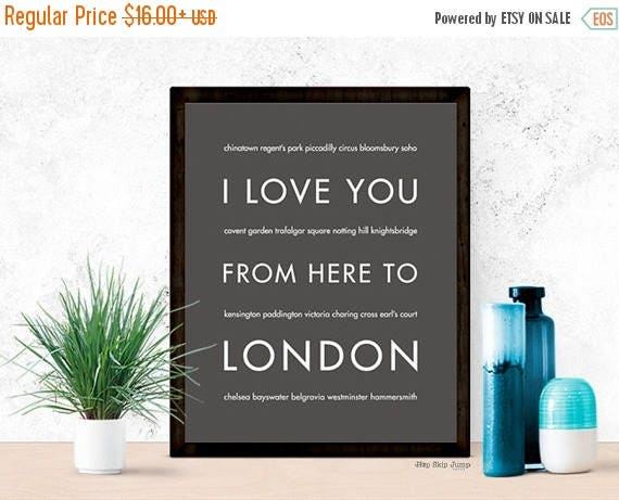 Graduation SALE London Print, London Gift, Travel Poster Home Decor, London Artwork, I Love You From Here To LONDON, Dark Gray, Canvas Print