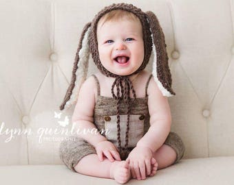 NEW-6-9 months Light Caramel/Beige Romper,Photography Prop Overalls,6-9 months Boy Outfits, Photography Props,Sitters Overalls,Sitters Props