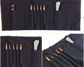 Makeup Brush Holder Toilery Holder Travel Organizer In Black Cotton