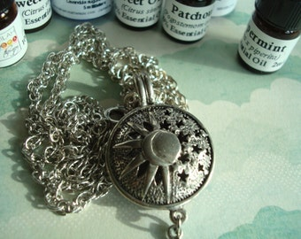 """Celestial Sun, Half-Moon & Stars Aroma Necklace, 24"""" Chain, Scent Your Auric Field, Choose 100% Essential Oil, Aroma, Jewelry, Aromatherapy"""