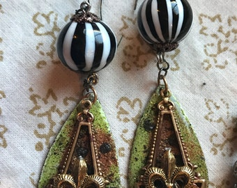 "French Baroque  Earrings .Bright Green 7 metallic silver .flecks of gold. Black & White vintage  glass baubles. .3"" long"