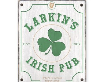 Irish Pub Sign - Customizable with your Name and Est. date - Rustic weathered wood sign - Irish bar sign - Rustic distressed home decor