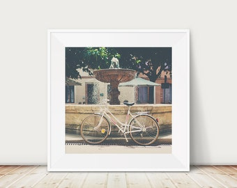 white bicycle photograph France photograph Albi photograph white bike photograph white bicycle print fountain photograph French decor