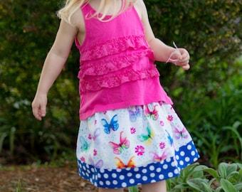 Butterfly Garden skirt   ( 2T, 3T, 4T, 5, 6, 7, 8, 10)