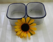 2 White With Blue Trim Enamel Ware Refrigerator Dishes