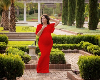 Red lace dress/maternity gown/evening gown/senior prop/wedding dress/maternity dress