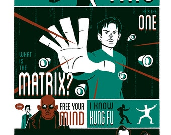 The Matrix Silkscreen Poster by Ian Glaubinger inspired by The Wachowskis Keanu Reeves