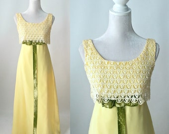 Vintage 1960s Yellow Lace and Chiffon Dress, Gown