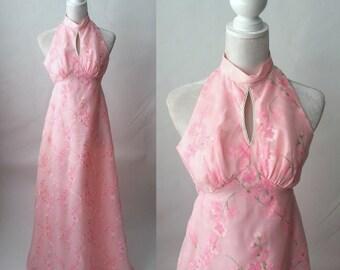 Vintage Pink Dress, Pink Maxi Dress, 1970 Pink Halter Dress, Vintage Halter Dress, 70s Pink Chiffon Dress, 70s Vintage Dress, 70s Boho Maxi