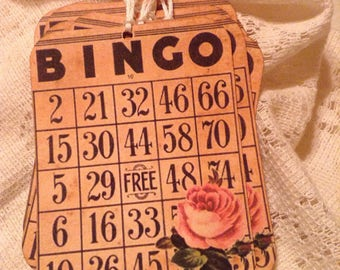 Distressed BINGO Tags, Vintage Shabby Chic Rose Tags, Vintage Style Tags, Wedding Favors, Birthday Favors, Gift Tags, Gift Wrap