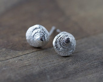 Tiny Shell Stud Earrings, Summer Outdoors Sterling Silver Seashell Earrings, Post Earrings, Friend Gift, Earrings Handmade by Burnish