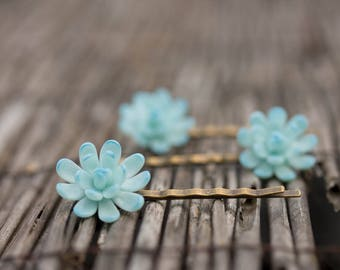 1 pcs Blue Succulent Hair Pins Hairpin Polymer Clay Bobby Pins Hair Decoration Accessory Women Handmade Decoration Wedding Bridal Hair