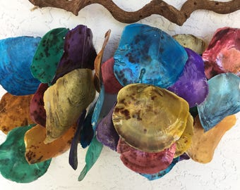 NAUTICAL /COASTAL Large Colorful Clam Sea Shells Driftwood WINDCHIME Mobile