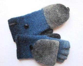 convertible mittens, wool mittens, felted mittens, size S