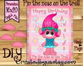 Pin the Nose on the Troll PRINTABLE party game Birthday Party Game ideas Pin the Tail DIY 16x20 game poster Digital Download