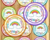 Rainbow Thank you tags Rainbow stickers Rain bow Party favor tags Custom Gift tags Cupcake toppers Birthday Party tags PRECUT