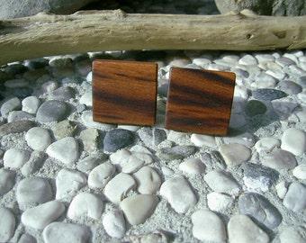 WOODEN CUFFLINKS Square Spalted Yellow PLUM Handcrafted Wooden Cufflinks