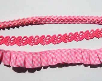 Vintage Pink Trim, Pink and White Gingham Trim, Girls Trim, 11 Total Yards
