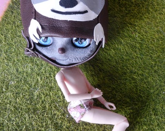 Blythe Cute Fun OOAK Animal Sloth Helmet  (BD3117)