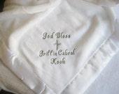 Baby Boy Gift Blanket  Baptism Gift Blanket Plush Monogrammed Blanket Baptism Blanket Christening Gift Blanket Baby Dedication Gift