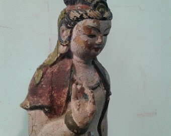 Vintage oriental  Kwan Yin Buddha Goddess Statue, carved wood polychrome painted  figurine,   Buddha icon