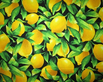 Lemons Realistic Lemon Tree Food Cotton Fabric Fat Quarter or Custom Listing