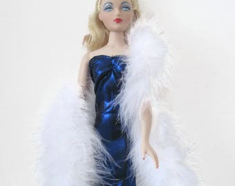 Gene Doll Blue Sapphire Gown and White Boa