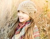 Crochet Handmade Visor Hat Slouchy Beanie Slouch Hat Newsboy Hat